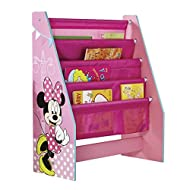 Disney Minnie Mouse bookcase neatly stores books of all shapes and sizes Transform her bedroom or playroom in minutes with her favourite Minnie Mouse character Featuring 4 sling compartments it's the perfect size for toddlers' bedroom storage Quick a...
