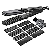 Hair Crimper, CkeyiN Professional Crimping Iron and Straighter with Heat Resistant Glove Adjustable...
