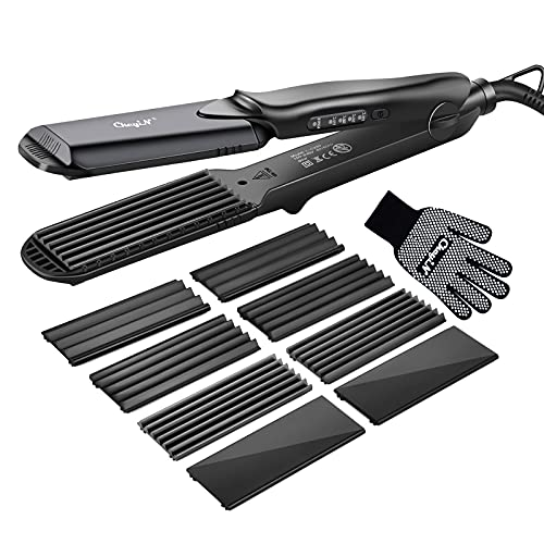 Hair Crimper, Crimping Irons Hair Straightener Flat Iron with 4 Interchangeable Tourmaline Ceramic Plate Adjustable Temperature for All Hair Type