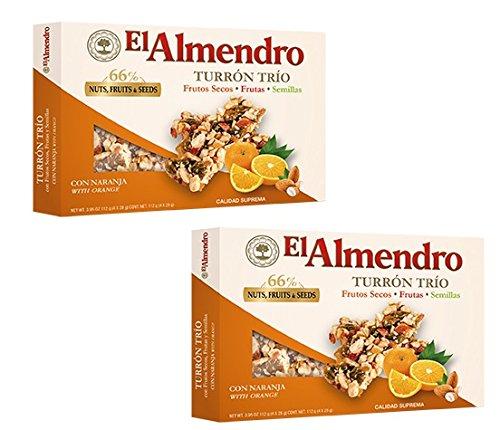 El Almendro - Il pacchetto include Turrón Trío de frutos secos, semillas y naranjas - Torrone Trio di noci, semi e arance - 112gr Suprema qualità