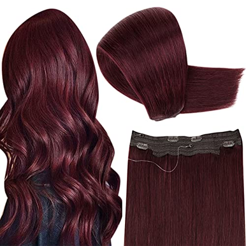 Hetto Wine Red One Piece Hair Extensions 20 Inch Real Human Hair One Piece Extensions Hidden Crown Wire Hair Extensions with Fish Line Burgundy Straight One Piece Hair Extensions 100g