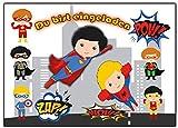 Kartenversand24 Superhelden Einladungskarten Enladung für Jungen und Mädchen 12 Stück Einladungen...