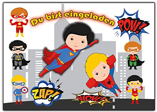 Kartenversand24 Superhelden Einladungskarten Enladung für Jungen und Mädchen 12 Stück Einladungen Jungs Buben