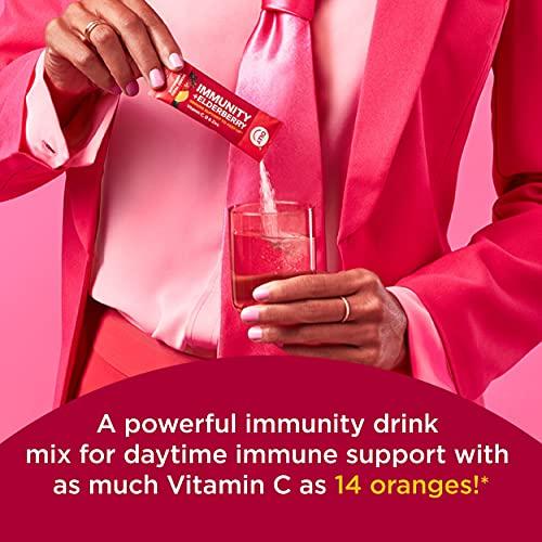 OLLY Immunity Powder, Daytime Immune Support, Elderberry, Vitamin C, D, Zinc, Fizzy Drink Mix, Berry Yuzu Lemonade