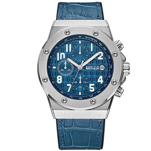 Baogela - Orologio da polso da uomo con cinturino blu in pelle e quadrante blu militare, con grande cronografo e calendario, impermeabile e luminoso, formato XL