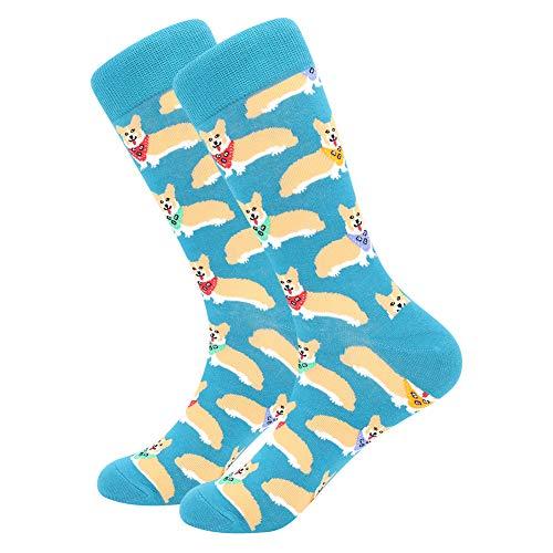 BONANGEL Calcetines Estampados Hombre, Hombres Ocasionales Calcetines Divertidos Impresos de Algodón de Pintura Famosa de Arte Calcetines, Calcetines de Colores de moda (1 Pare-Corgi)