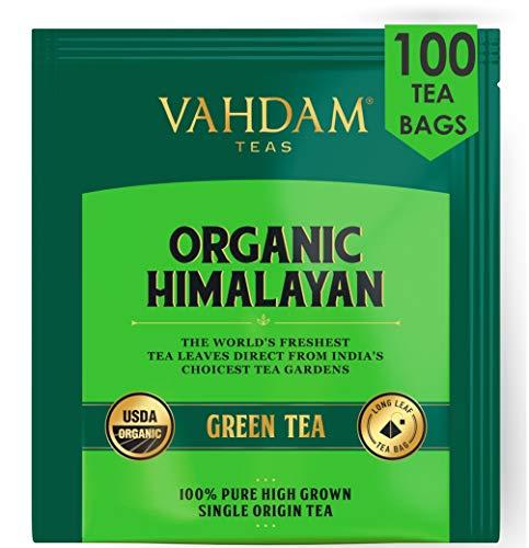 Grüne Teeblätter aus dem Himalaya (100 Teebeutel), 100% natürlicher Gewichtsverlust-Tee, Detox Tee zum Abnehmen, Schlankheitstee, Abnehmtee, Anti-OXIDANTS Rich - Grüner Tee Loseblatt