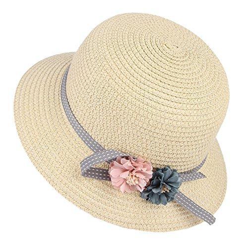 GEMVIE Sombrero Gorro Paja Niñas Pescador Ala Ancha Sol Verano Flores Elegante Circunferencia/52cm Rosa
