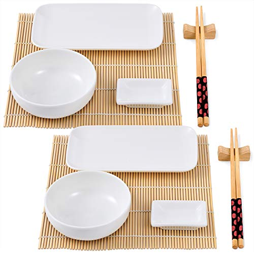 BERGNER Q3565 Set Sushi de 12 Piezas (Porcelana + Bambu + Madera) colección Foodies
