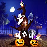 YUNLIGHTS 9FT Halloween Inflatables, Blow Up LED Inflatable Dead Tree with Owl, Ghost and Pumpkins for Outdoor Indoor Garden Yard Lawn Party Holiday Decoration