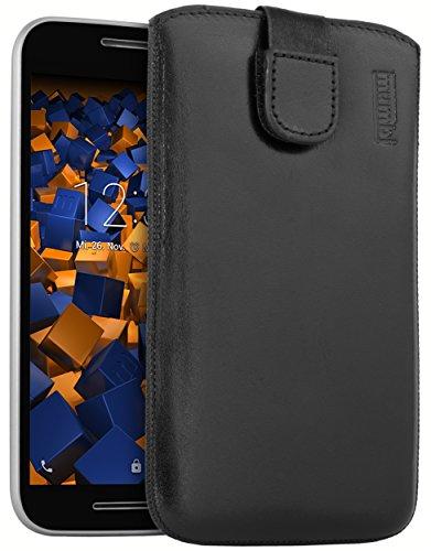 mumbi Echt Ledertasche kompatibel mit Motorola Moto G3 Hülle Leder Tasche Case Wallet, schwarz