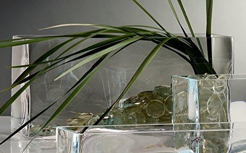 5x Glasvase Vase Glas Blumenvase Tischvase Glasschale groß rechteckig, 40x18cm