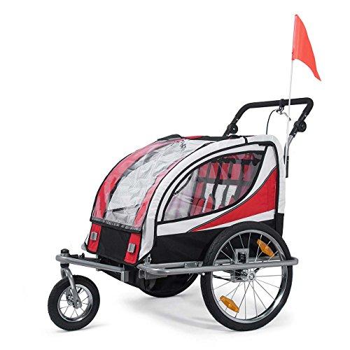 SAMAX Rimorchio Bicicletta Passeggino Bambini 360? girevole 2in1 Carello Portabambini Bici Trasporto Sicurezza Completamente Ammortizzato in Rosso - S