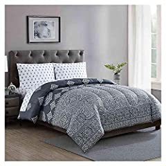 """Charcoal and white intricate medallion design; reverse, pillowcases and sheets feature a micro medallion design in charcoal on a white ground Full comforter set includes: 76"""" W x 86"""" L comforter; 80"""" W x 96"""" L flat sheet; 54"""" W x 75"""" L fitted sheet; ..."""