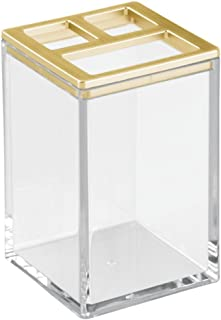 iDesign Clarity Toothbrush Holder Stand for Bathroom Vanities - Clear/Brushed Gold