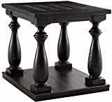Signature Design by Ashley - Mallacar Vintage Square End Table w/ Fixed Shelf, Black