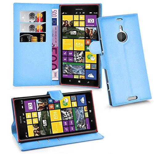 Cadorabo Hülle für Nokia Lumia 1520 Hülle in Pastel blau Handyhülle mit Kartenfach & Standfunktion Hülle Cover Schutzhülle Etui Tasche Book Klapp Style Pastell-Blau