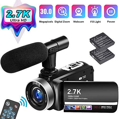 Camcorder Videokamera 2.7K Full HD 30 MP Vlogging Kamera für YouTube 18 fache Digitalzoom Camcorder HD mit Mikrofon und 3,0 Zoll IPS Touchscreen