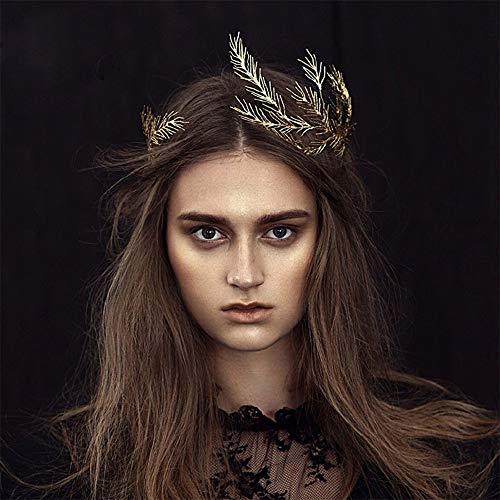Anglacesmade Tiara de novia hoja ramas de corona diadema vintage reina diosa hoja pelo vid boda graduación festival joyería para el cabello para mujeres y niñas