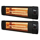 Dr. Infrared DR-238 1500W Carbon Infrared Indoor Outdoor Wall or Ceiling Heater with Remote Control, Black (2 Pack)