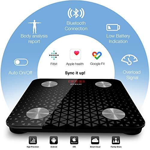51wo6YMrgOL - ILTECO Báscula de Baño Grasa Corporal y Muscular Inteligente, Báscula de precisión digital con Tecnología Bluetooth, APP 13 análisis (IMC, Peso Óseo, Masa, Agua etc) conexión Android e iOS Negro