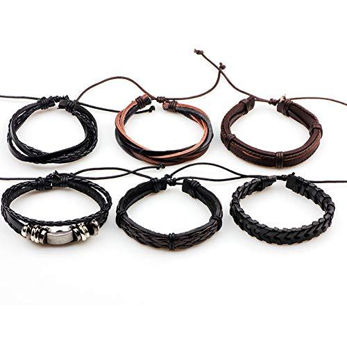 NanXi Punk Rock Star Skull Multi Charm Bracelet for Women Men Jewelery Gothic Rope Braided Leather Bracelet Men