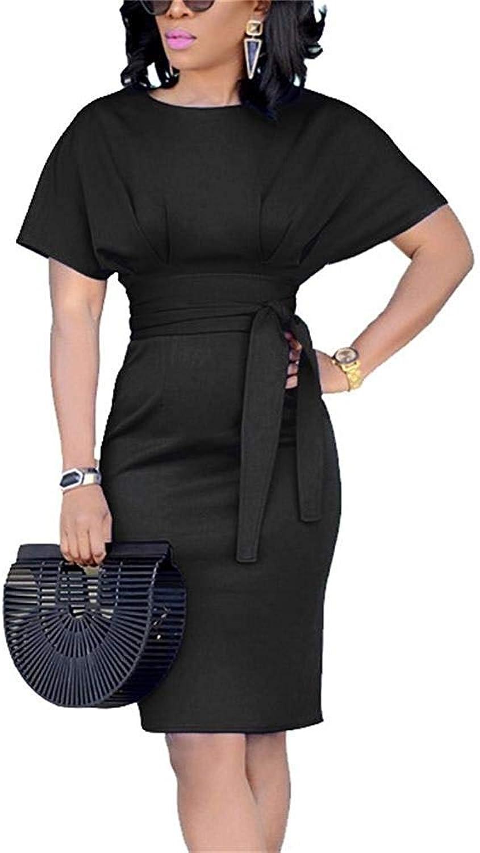 Geckatte Womens Work Pencil Bodycon Dresses Summer Short Sleeve Business Midi Dress with Belt