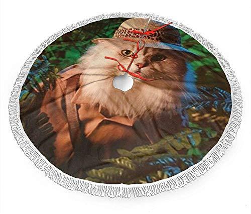 Romance-and-Beauty Safari Cat Cute Funny Kittens Animal Art Print Falda de árbol de Navidad a Cuadros,...