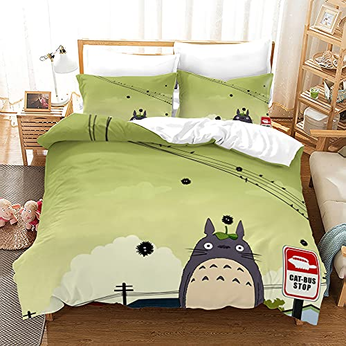 LWtiao-x Juego de ropa de cama infantil, 3D My Neighbor Totoro, funda de edredón + funda de almohada, cremallera, sábana de microfibra (A1,220 x 240 cm + 75 x 50 cmx2)
