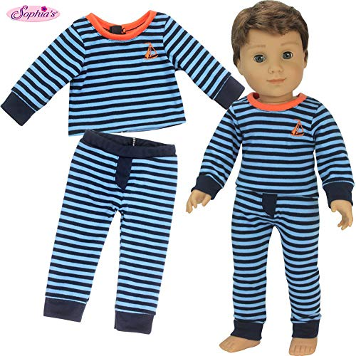 Sophia's 18 Inch Boy Doll Pajamas Blue Striped PJ Top and Bottoms for Dolls   Doll Sold Separately