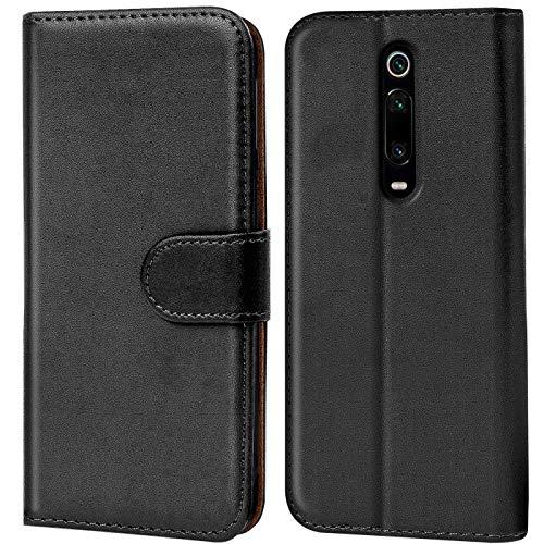 Verco Xiaomi Mi 9T Hülle, Handyhülle für Xiaomi Mi 9T Tasche PU Leder Flip Hülle Schutzhülle Brieftasche - Schwarz