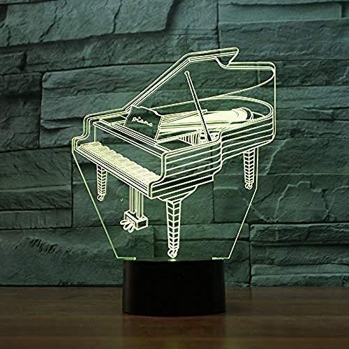 Luz De Noche 3D Lámpara De Noche Luz Para Dormir Piano Lámpara 3D 7 Toque Colorido Regalo Led Lámpara De Escritorio Decorativa Novedad Luminaria Lámpara De Pared Inalámbrica Led Lámparas 3D