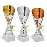 tecnocoppe Tris Coppe h 21,00 20,00 e 18,00 cm ABS Dorato Argentato bronzato Riconoscimento Sportivo Targhetta Personalizzata Omaggio Premiazione Fantacalcio