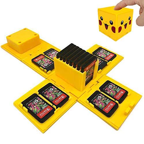 TUSNAKE Spielkartenhalter für Nintendo Switch,Passend für bis zu 16Nintendo Switch Spiele Aufbewahrungssystem Spielkarten Organizer Reisebox Hartschalen (Pikachu/Yellow)