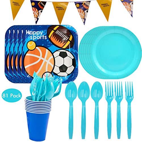 Amycute 41-teiliges Fußball und Basketball Party Deko Set mit Banner, Teller, Becher, Gabel und Messer,für Geburtstagsfeier,Kindergeburtstag, Baby Shower Party. (81)