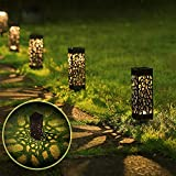 Aigostar Esta - 6 x Lámpara LED solar para jardín y exteriores, diseño celosía, Cálida...