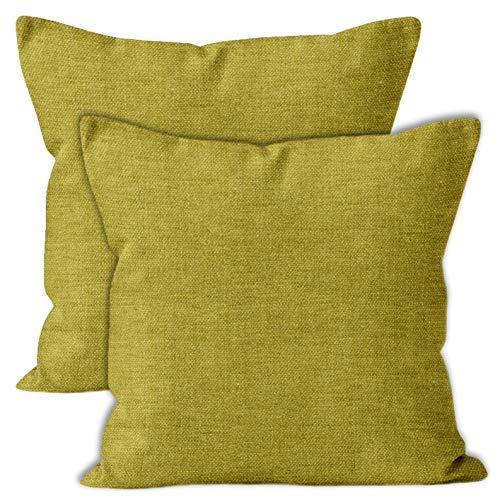 Encasa Homes Almohadas de Chenilla de Juego de 2 Piezas - Aceituna - 50 x 50 cm Color sólido Texturizado, Suave y Liso, Acento Cuadrado Cojín para el sofá, el sofá, la Silla