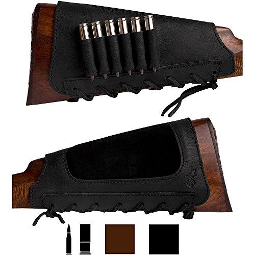 BRONZEDOG Leather Cartridge Buttstock Shotgun Shell Holder, Hunting Buttstock Ammo Holder Pouch Bag for Rifles, Shotgun Shell Pouch Shell Holder Stock (Black)