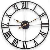 BCBKD Reloj De Pared Silencioso 3D, Gran Reloj Industrial Retro con Números Romanos Movimiento De Cuarzo Esqueleto De Metal Reloj Decorativo para Sala De Estar Cocina Y Oficina - 60 Cm, Negro