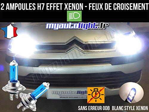 MyAutoLight- Pack ampoules H7 blanc xenon feux croisement-code pour C4 I