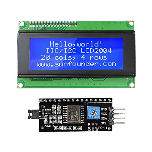 SunFounder 2004 20x4 LCD Module IIC I2C Interface Adapter Blue Backlight for Arduino R3 MEGA2560 Raspberry (MEHRWEG)