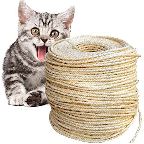 O'woda 50M Sisalseil für Kratzbaum Seil 6 mm, für Kratzbäume, Seil Kordel, Camping Seil, Garten, Mehrzweck Utility Sisal Seil DIY Handwerk Seil (50 Meter, Primärfarbe)