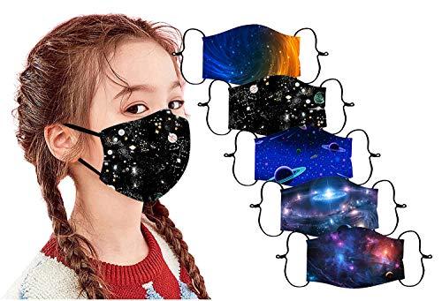 Kids Reusable Breathable Face Bandanas Cute Print Washable Face Maxks for Chilren Girls Boys (5 PCS, Starry Sky B)