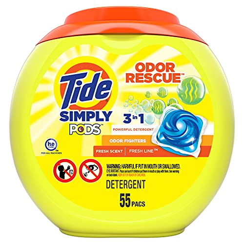 Tide Simply Pods Odor Rescue Liquid Laundry Detergent Pacs, 3 in 1 Powerful Detergent, Fresh Scent, 55 Count