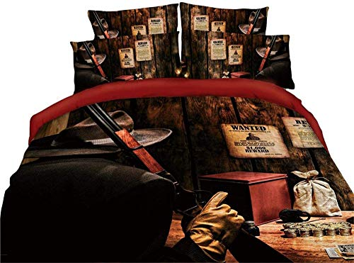 Msortatnl Vintage Bullet Gun Gold Coins Wooden Table Paper Pattern - Duvet Cover And 2 Pillowcase Bed Set, Cotton And Polyester, Single (135 X 200 Cm)