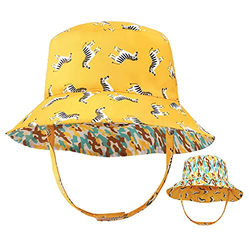 Sombrero de Cubo para niños pequeños Protección Solar Sombrero de ala Ancha de Verano para bebés con Correa de Barbilla UPF50 Gorra de Animal de Doble Cara para bebés Niños Niñas 6-24 Meses