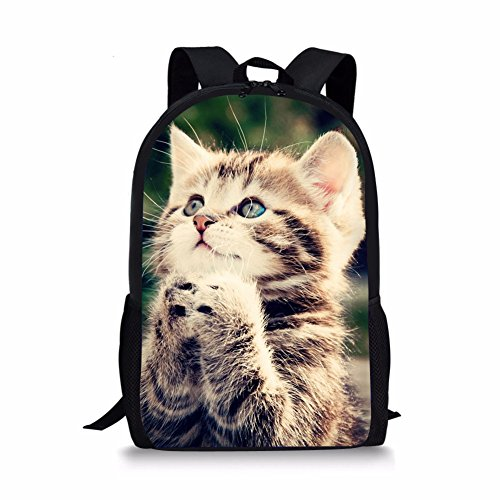 HUGS IDEA Cute Kids School Bag Shoulder Bookbag Cat Printing Backpack for Teen Boys Girls