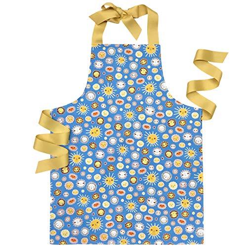Handmade Blue Sunshine Tween Girl Apron Gift for Baking Art or Lemonade Stand
