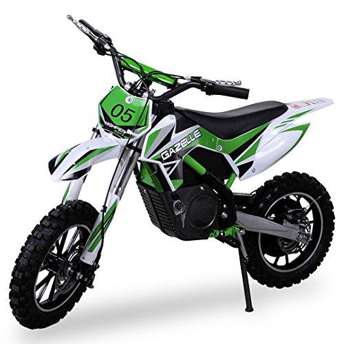 nuevo niña Mini Moto Cross Gazelle ELÉCTRICO 500 WATT inclusive reforzado Tenedor Moto Cross Dirtbike Bolsillo Cross verde