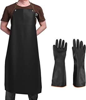 DaKuan Waterproof Rubber Vinyl Apron & Heavy Duty Latex Gloves, Ultra Lightweight Resist Strong Acid, Alkali and Oil Apron & Gloves Best for Staying Dry When Dishwashing, Lab Work, Butcher